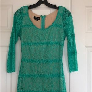 Mint lace mini dress with nude lining.